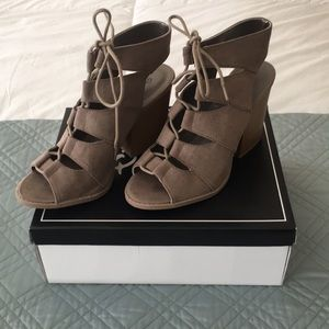 Like New Suede Lace Up Heels